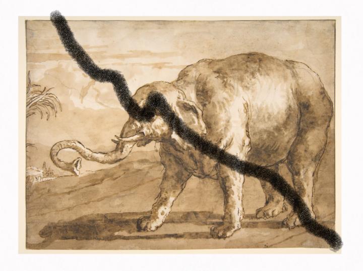 Giovanni Domenico Tiepolo, Elephant in a Landscape