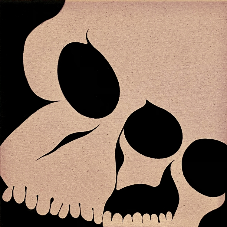Painting of a distorted skull