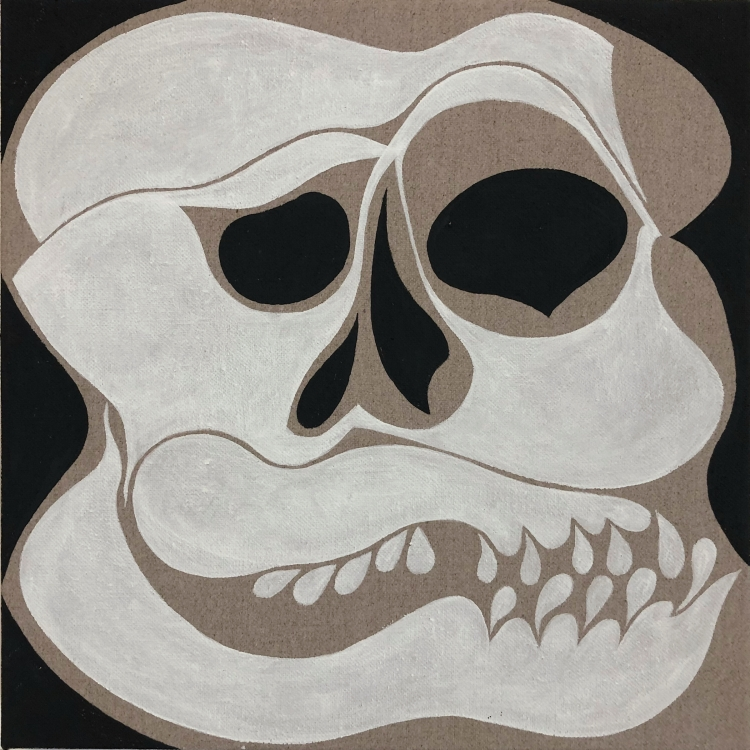 Distorted painting of a skull